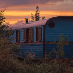 Escape to romantic French Gypsy Roulottes (caravans) in a Scottish wildflower meadow